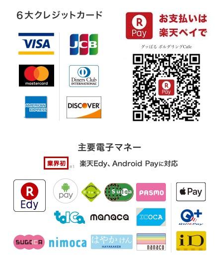 クレジットカード、電子マネーがご利用できます